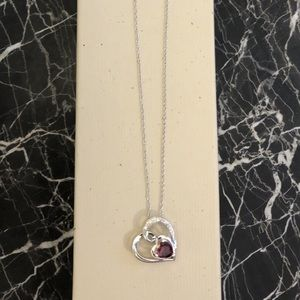 Kay Jewelers Silver Ruby Heart Necklace